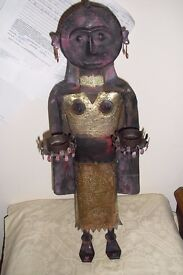 """VINTAGE AFRICAN METAL & BRASS FIGURE 25"""" HIGH. HOLDS 2 CANDLES & COPPER EARRINGS"""