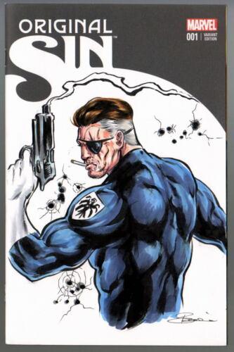 Marvel Sketch Cover ORIGINAL SIN Nick Fury Original Color Artwork by DAMON BOWIE