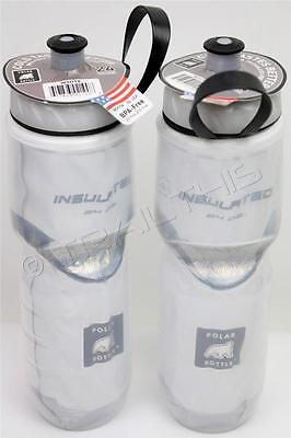 2-Pack Polar Insulated WHITE 24oz Water Bottles Bike/Hiking Dishwasher Safe USA