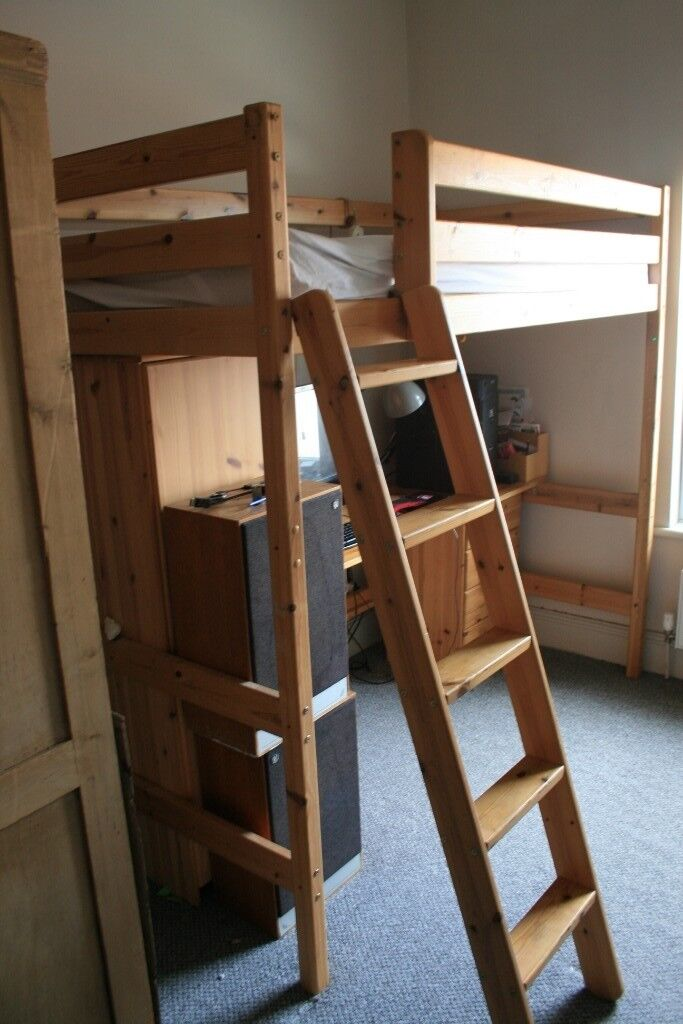 Raised Single Bunk Bed With Optional Modular Desk And Cupboard In