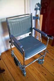 Perching Chair, Walking Frame (Zimmer) and a Foldable Wheelchair with cushion and pot, and Crutches