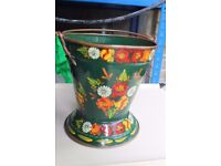 Small Hand Painted Brass Bucket