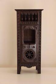"Miniature French Breton Oak Cabinet 14"" high 4"" wide"