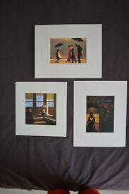 Three art prints - Hopper and Vettriano - in mounts