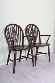 2 X WHEELBACK CARVER CHAIRS SOLID OAK STURDY SOLID SECURE - UK WIDE DELIVERY