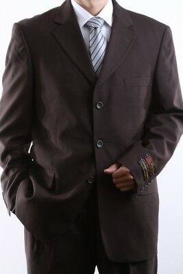 MEN'S SINGLE BREASTED 3 BUTTON BROWN DRESS SUIT SIZE 36S, PL-60513-BRO