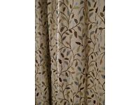 Pair of curtains in a heritage cream and green leaf print