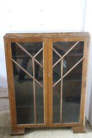 Mid Century Oak Display Case with Wooden Shelves and Leaded Glass Doors