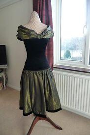 Laura Ashley velvet & taffeta-look evening dress 1950's style Size 8 (new no tag)