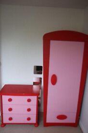 Kids pink wardrobe and drawers