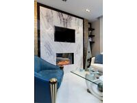 90% OFF MARBLE AND GLASS FEATURE WALL WITH TV AND ELECTRIC FIREPLACE