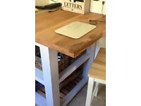 Solid kitchen island/ breakfast table with storage