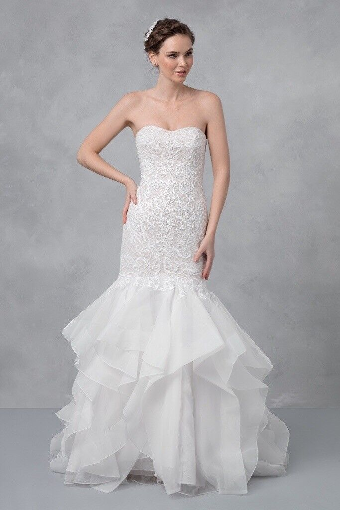 BRAND NEW, UNALTERED Oleg Cassini Wedding Dress Trumpet with Lace ...