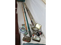 Sea fishing gear, two rods, one 12 ft, one 10 ft, 1 reel and lots of hooks, line and traces.