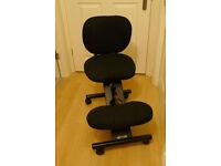 Kneeling ergonomic chair, Cinius professional, in black, as new. Saving more than 60%