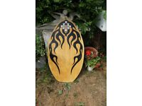 £10 SKIMBOARD TRIBAL SURF VERY GOOD CONDITION BODYBOARD SURFBOARD BEACH MAPLE& BAG