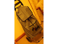 Trolley Bag in a Tiny Back & White Check with Red/Black Scottie Dog