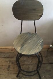 Industrial Style Stool with Back Rest