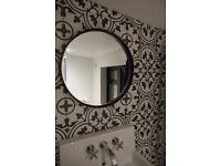 Encaustic tile floor or wall tile black and white