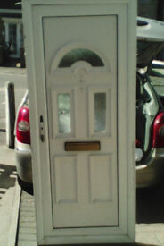 White upvc door for sale with 2 slits and fan glazing