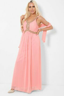 Salmon Coral Embellished Chiffon Maxi Dress Prom Size 8 10 Padded Bust Grecian