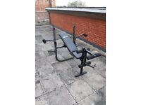Used Pro Fitness Multi Use Opti Workout Bench Weight Lifting Home Gym Work Out and Dumbbell Set