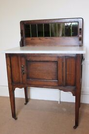 Antique Marble & Wood Cupboard Washstand