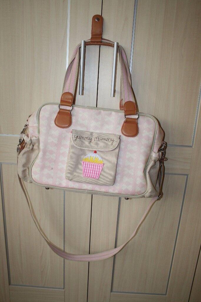 Pink Lining pram nappy changing bag - pink bows CAN POST