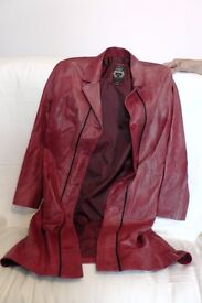 Moroccan red leather ladies coat