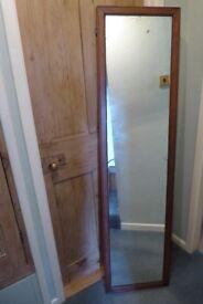 "Old vintage antique long wooden mirror medium oak colour size 15 and half "" x 62"""