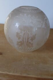 Antique etched-glass Lamp Shade / Lampshade / Light Shade. Art Nouveau floral design. Perfect.