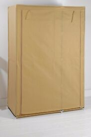 Fabric wardrobe with shelving in natural