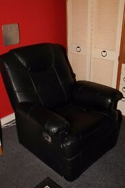 Black Leather Recliner Chair - Excellent Condition
