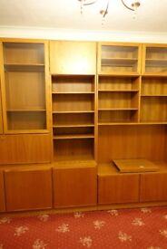 floor standing living room units in teak veneer