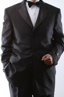 MEN'S SINGLE BREASTED THREE BUTTON BLACK TUXEDO SIZE 44XL, PL-T60213-BLK