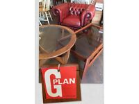 G- Plan Retro coffee tables, round & oblong