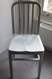 Six metal dining chairs with cushions, good condition
