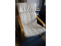IKEA Poang Armchair White with Footstool