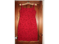 Red embossed pattern cocktail dress from River Island, size 14