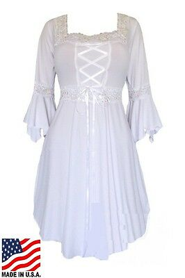 PLUS SIZE LONG SLEEVE RENAISSANCE STYLE CORSET DRESS 1X 2X  WHITE