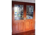 Solid Mahogany Doors with Leaded Stained Glass infills.
