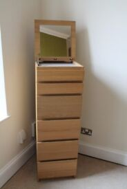 IKEA MALM tall boy chest of drawers in oak veneer, excellent condition sells in store for £90!