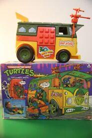 Vintage 1989 Teenage Mutant Ninja Turtles Party Wagon with Original Box
