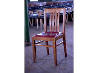 x 150 Solid Oak and Red Leather Italian Made Restaurant chairs