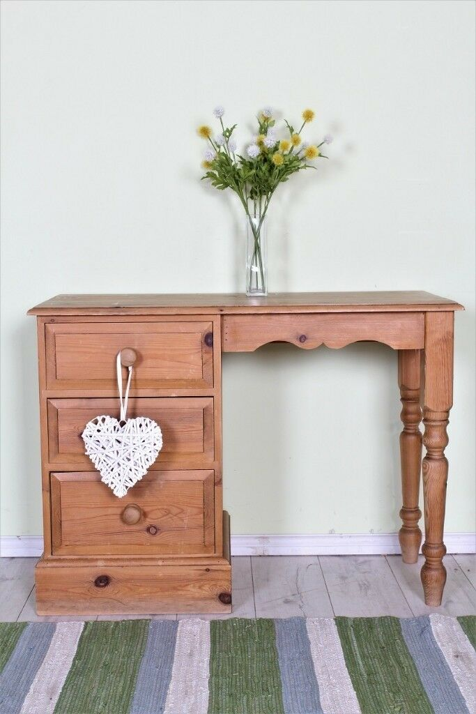 Delivery Options Pine Dressing Table 3 Drawers Turned Legs Age Marks