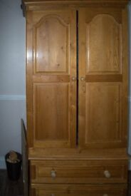 Waxed pine chest of drawers and wardrobe