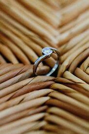 Engagement ring platinum brilliant round cut diamond, size K1/2