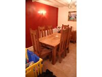 Solid chunky oak rustic table and 8 high back chairs - farmhouse style