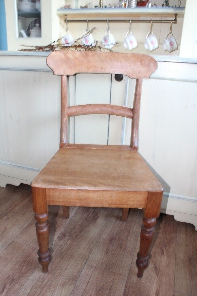 Antique Edwardian Country Kitchen Chair Dining Bar Back Maple Old Very Good