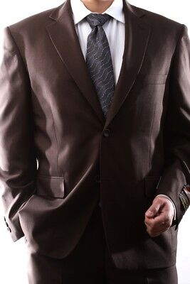 MENS SINGLE BREASTED 2 BUTTON BROWN DRESS SUIT SIZE 46S, PL-60212N-208-BRO